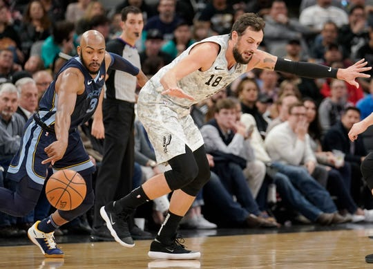 San Antonio Spurs' Marco Belinelli (18) is fouled by Memphis Grizzlies' Jevon Carter during the first half of an NBA basketball game, Saturday, Jan. 5, 2019, in San Antonio. (AP Photo/Darren Abate)