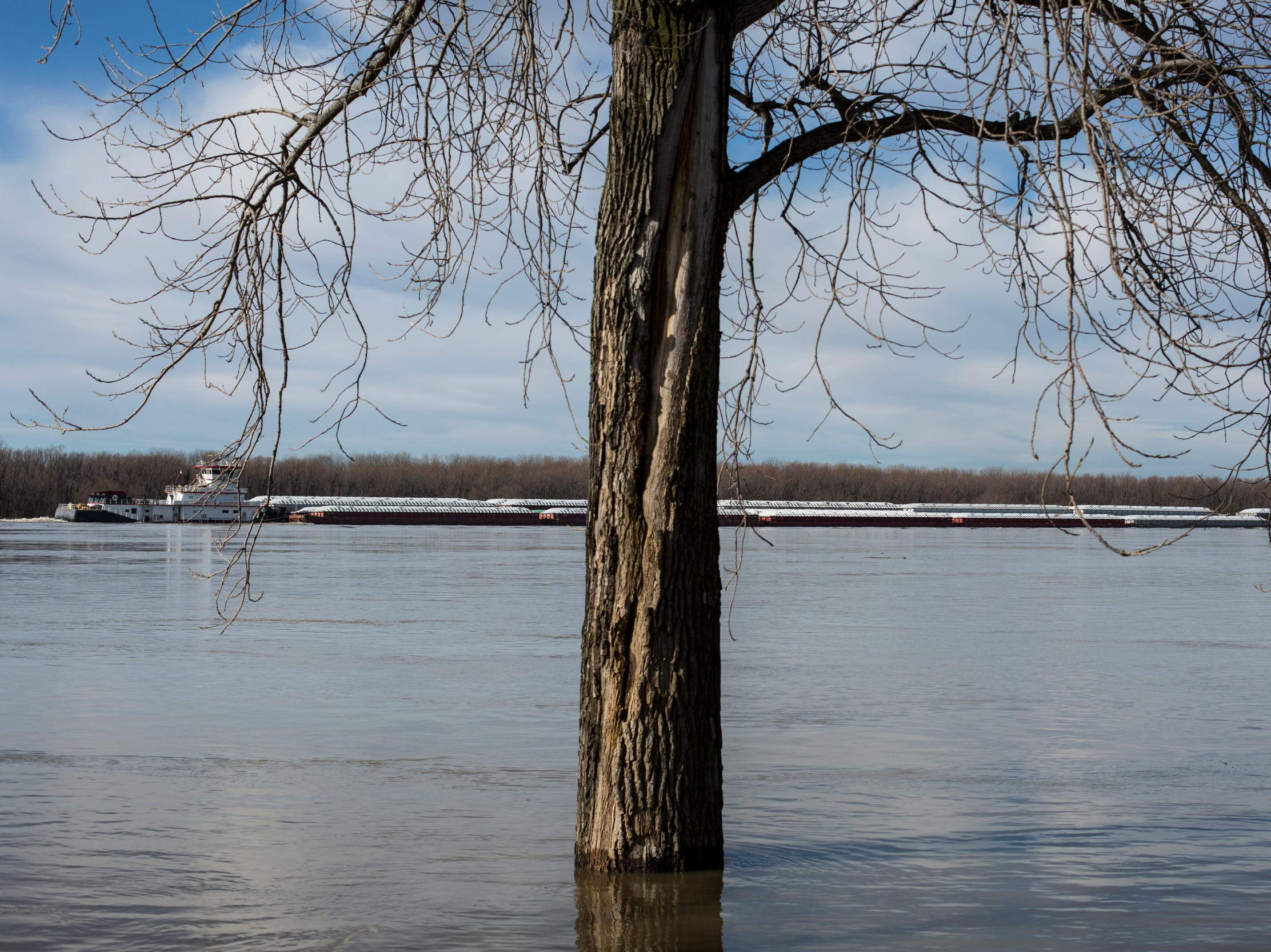 January 06 2019 - A towboat makes its way up the swollen Mississippi River on Sunday afternoon. The Mississippi River is currently at 29 feet and is expected to crest at 32 feet later this week.