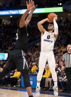 Marquette guard Markus Howard shoots in the first half against Xavier on Sunday.
