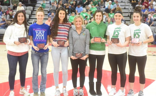 Members of the North Arkansas College All-Tournament senior girls' team are (from left) Omaha's Taylor Tucker, Alpena's Alex Hill, Jasper's Sierra Johnson, Valley Springs' Madison Moore, Alyssa Karr, Bailey Bryant, and Bethany Richardson. Not pictured are Norfork's Whitlee Layne, Macy Dillard, Kinley Stowers and Hannah Bryant.