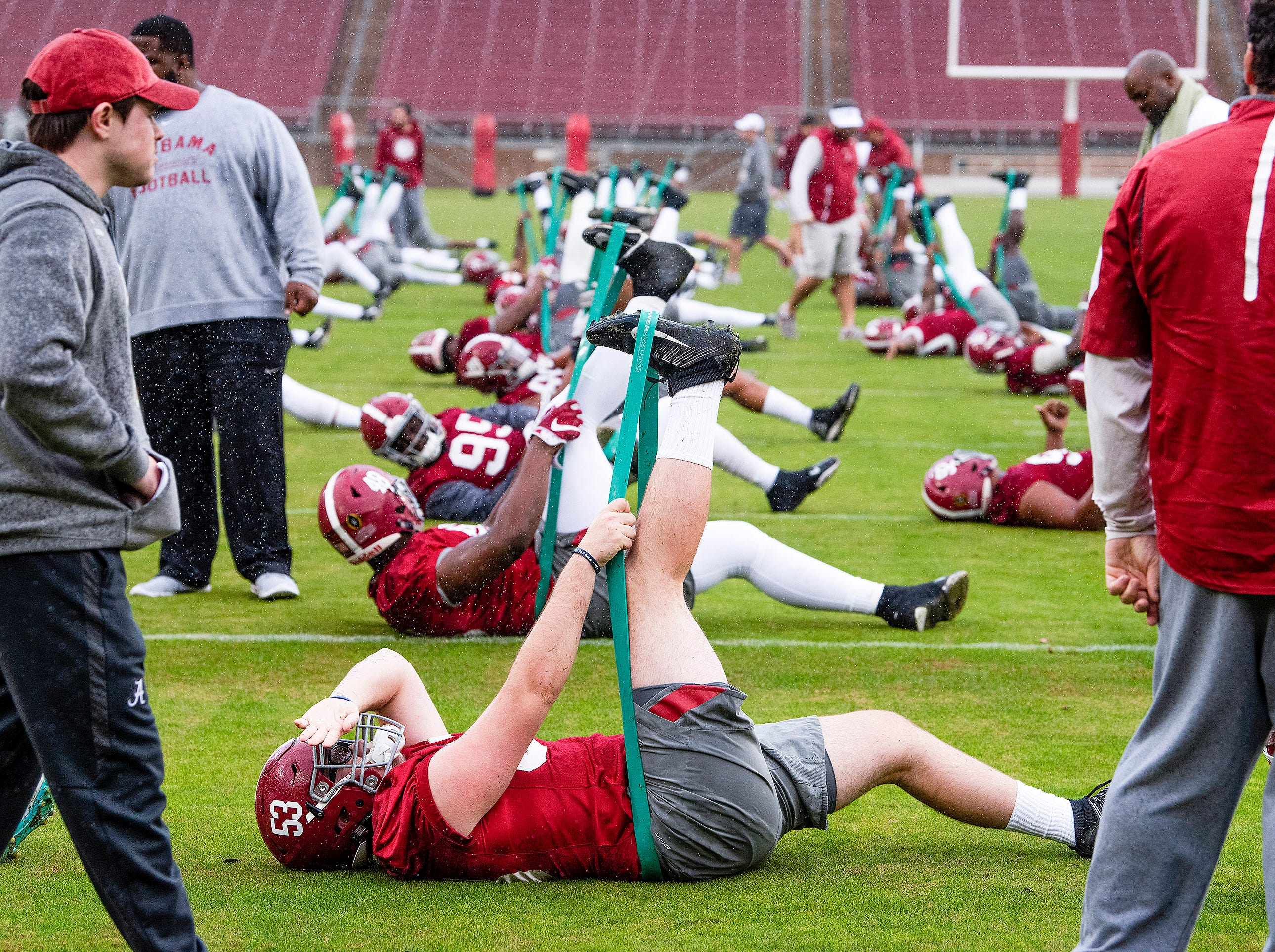 Alabama players stretch before practice on the Stanford campus in Stanford, Ca., on Saturday January 5, 2019.