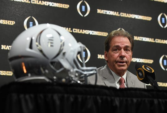Alabama head coach Nick Saban answers questions during the College Football Playoff Championship coaches press conference in San Jose, California January 6, 2019.