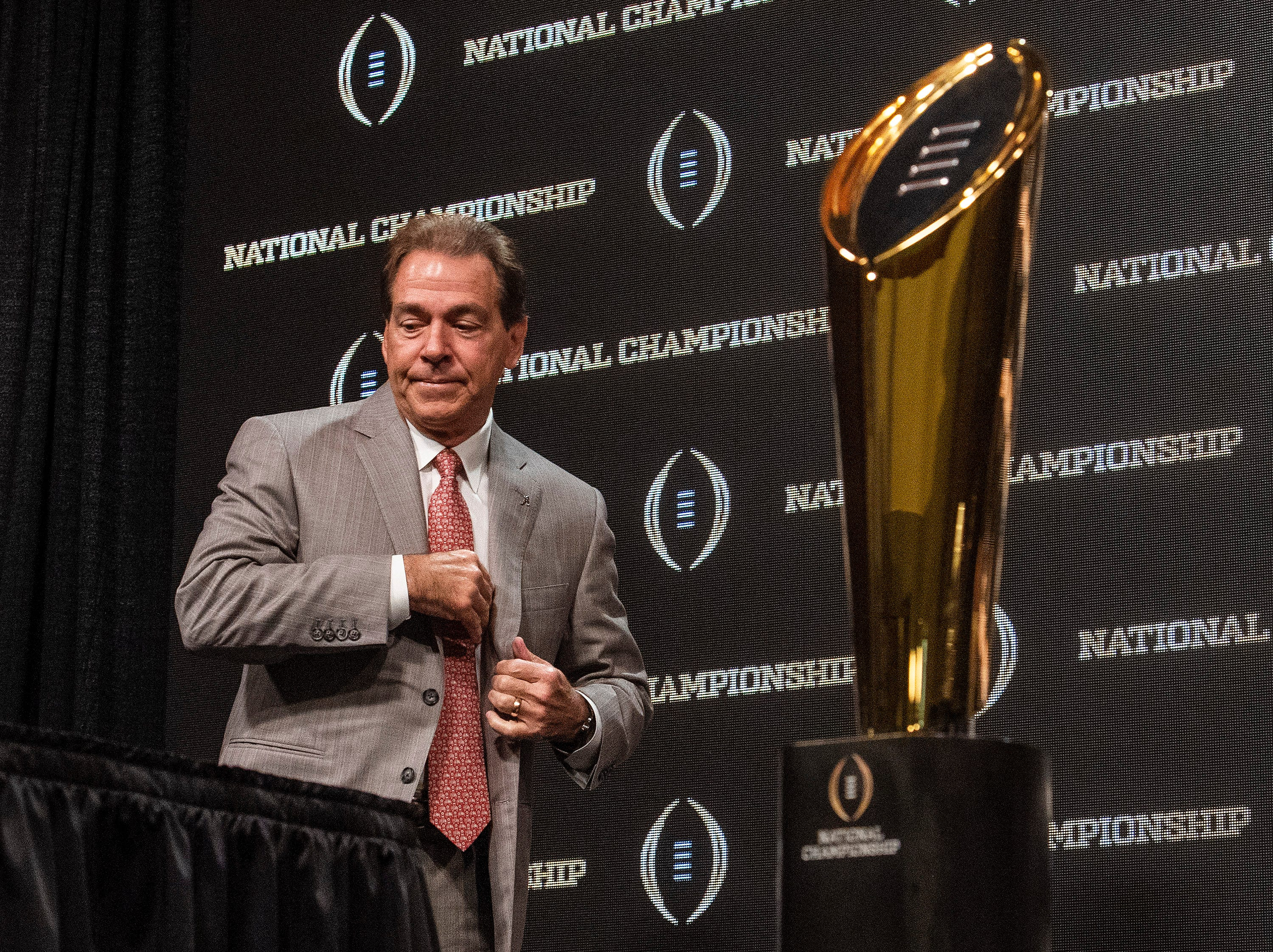 Alabama head coach Nick Saban arrives for the College Football National Championship coaches press conference in San Jose, Ca., on Sunday January 6, 2019.