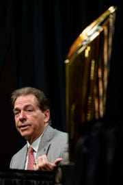 Alabama head coach Nick Saban speaks during the College Football National Championship coaches press conference in San Jose, Ca., on Sunday January 6, 2019.