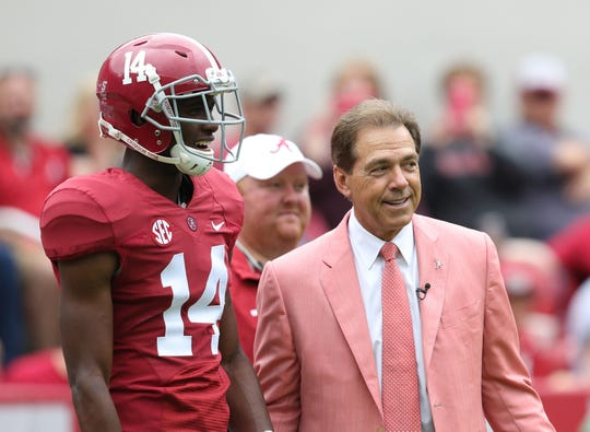 Apr 18, 2015; Tuscaloosa, AL, USA; Alabama Crimson Tide head coach Nick Saban talks with wide receiver Deionte Thompson (14) during the A-day game at Bryant Denny Stadium. Mandatory Credit: Marvin Gentry-USA TODAY Sports