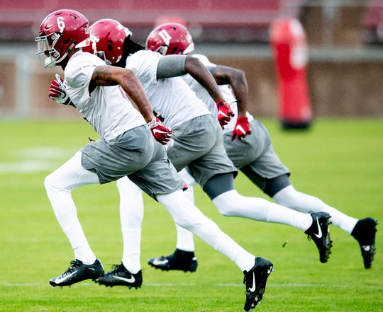 Alabama wide receivers DeVonta Smith (6), Jerry Jeudy (4) and Henry Ruggs, III, (11) run sprints as Alabama practices on the Stanford campus in Stanford, Ca., on Saturday January 5, 2019.