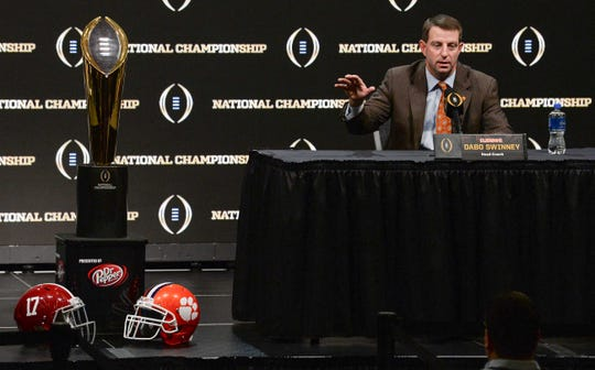 Clemson Head Coach Dabo Swinney speaks during the College Football Playoff Championship coaches press conference in San Jose, California January 6, 2019.