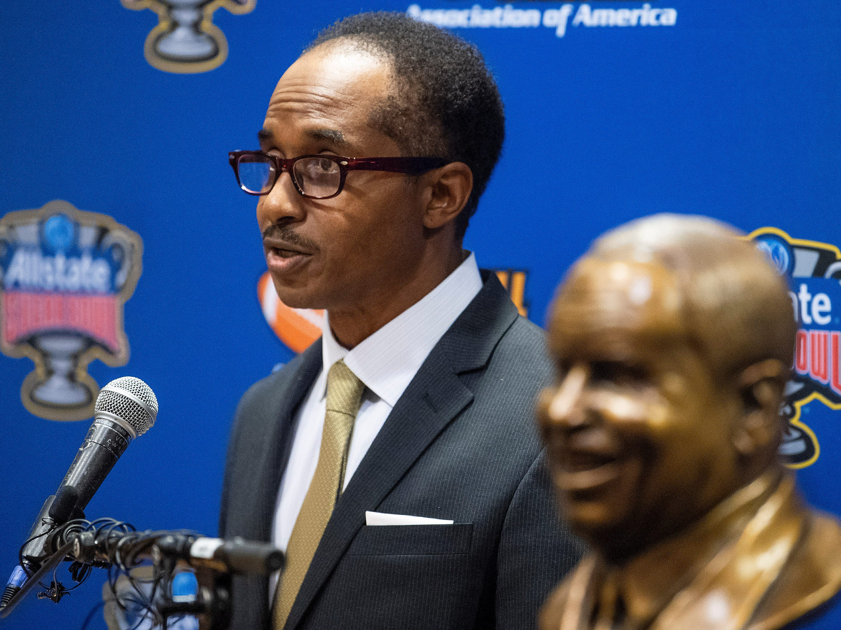 Eddie Robinson, III, speaks as UAB football coach Bill Clark is presented the Eddie Robinson Coach of the Year Award during a ceremony in San Jose, Ca., on Saturday January 5, 2019.