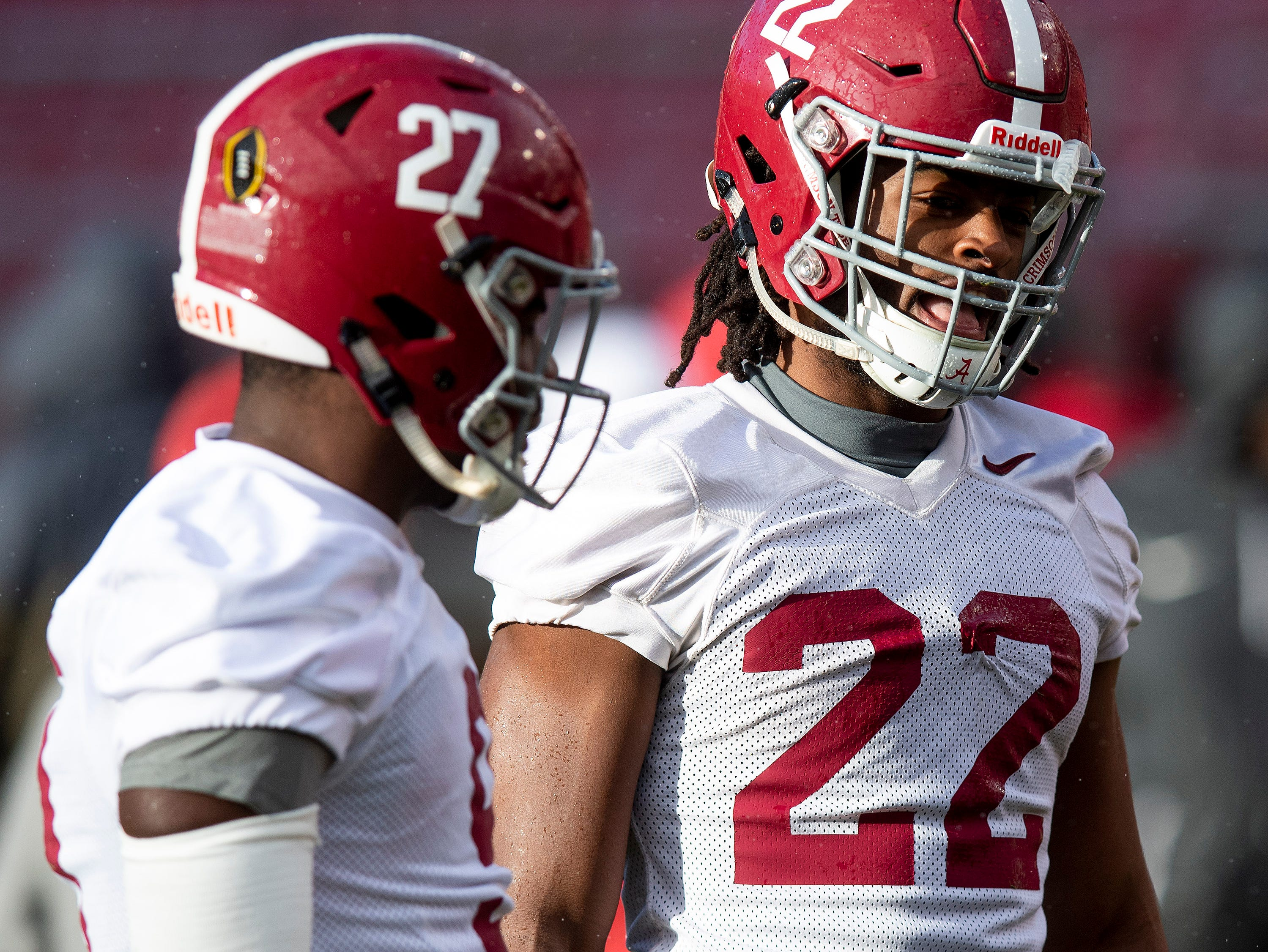 Alabama running back Najee Harris (22) as Alabama practices on the Stanford campus in Stanford, Ca., on Saturday January 5, 2019.