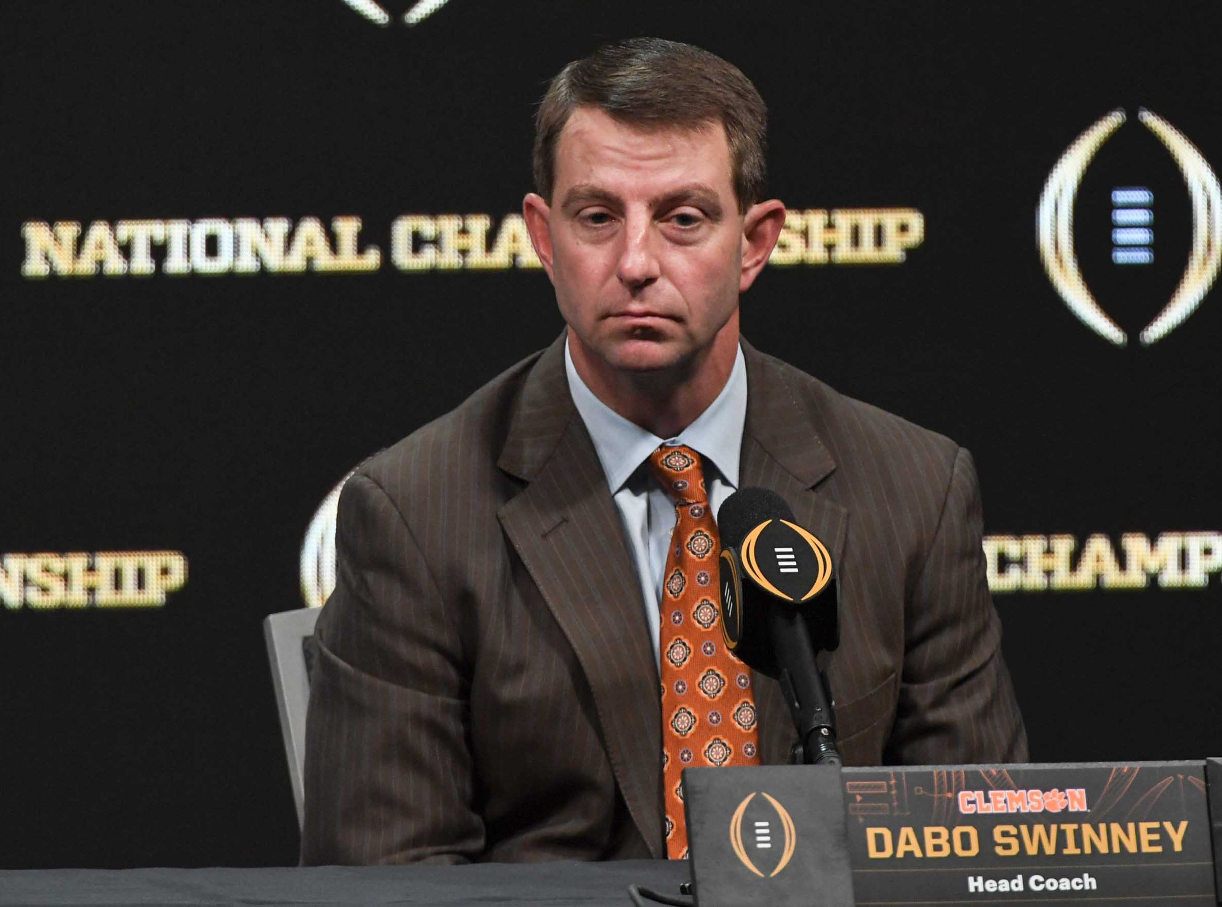 Clemson Head Coach Dabo Swinney during the College Football Playoff Championship coaches press conference in San Jose, California January 6, 2019.