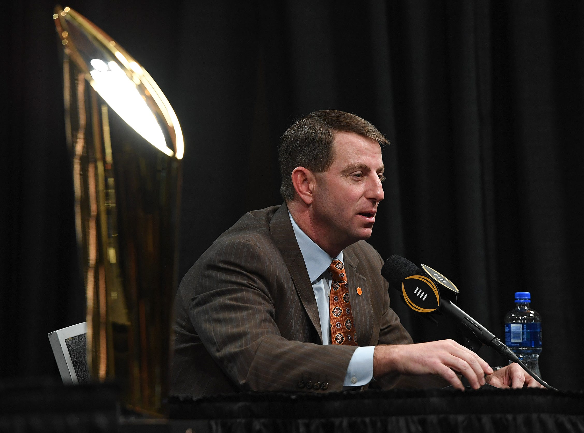 Clemson head coach Dabo Swinney answers questions during the College Football Playoff Championship coaches press conference in San Jose, California January 6, 2019.