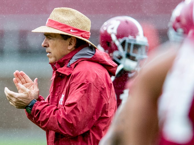 Alabama head coach Nick Saban as Alabama practices on in Stanford Stadium on the Stanford campus in Stanford, Ca., on Saturday January 5, 2019.