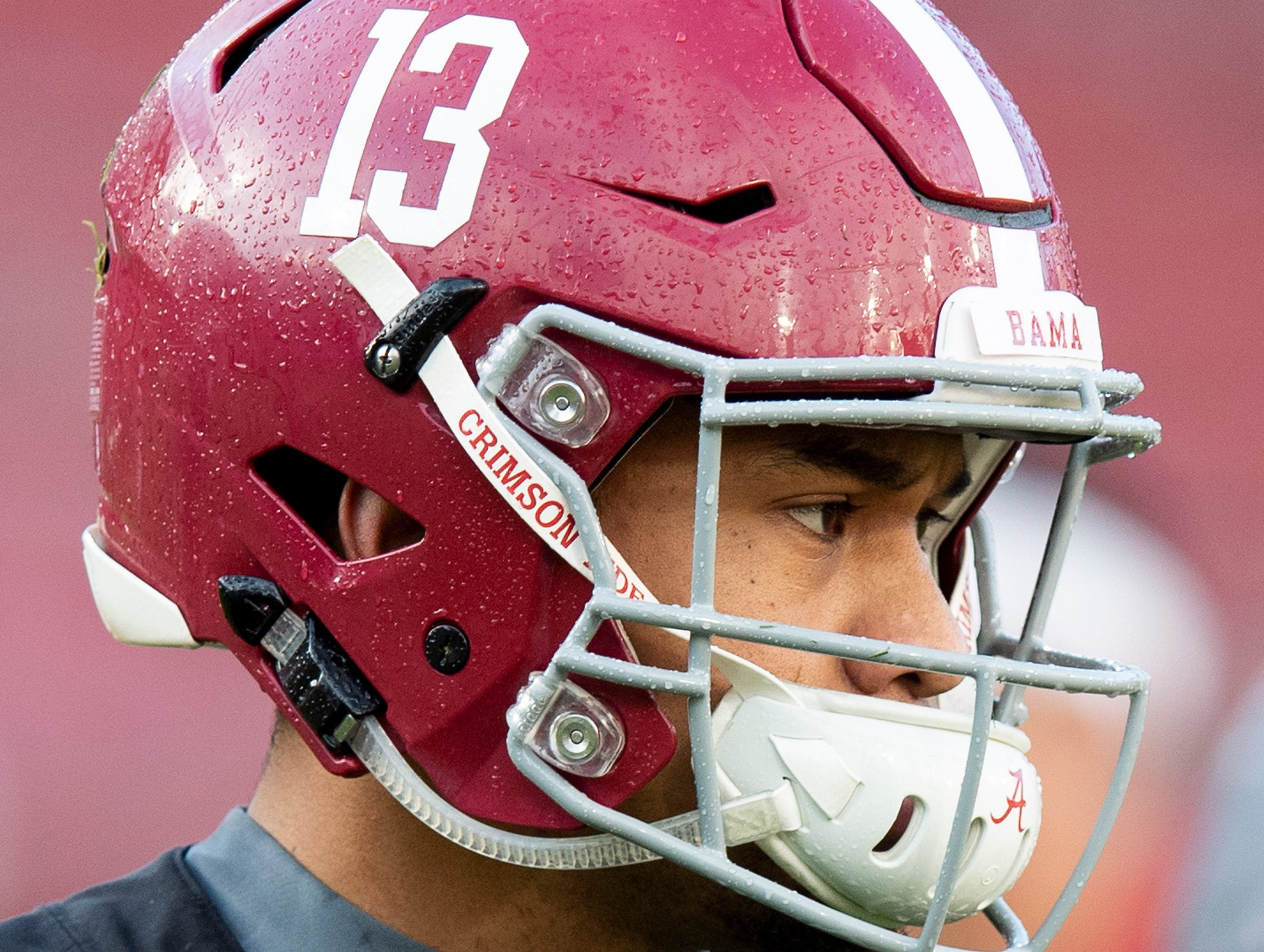 Alabama quarterback Tua Tagovailoa (13) as Alabama practices on the Stanford campus in Stanford, Ca., on Saturday January 5, 2019.