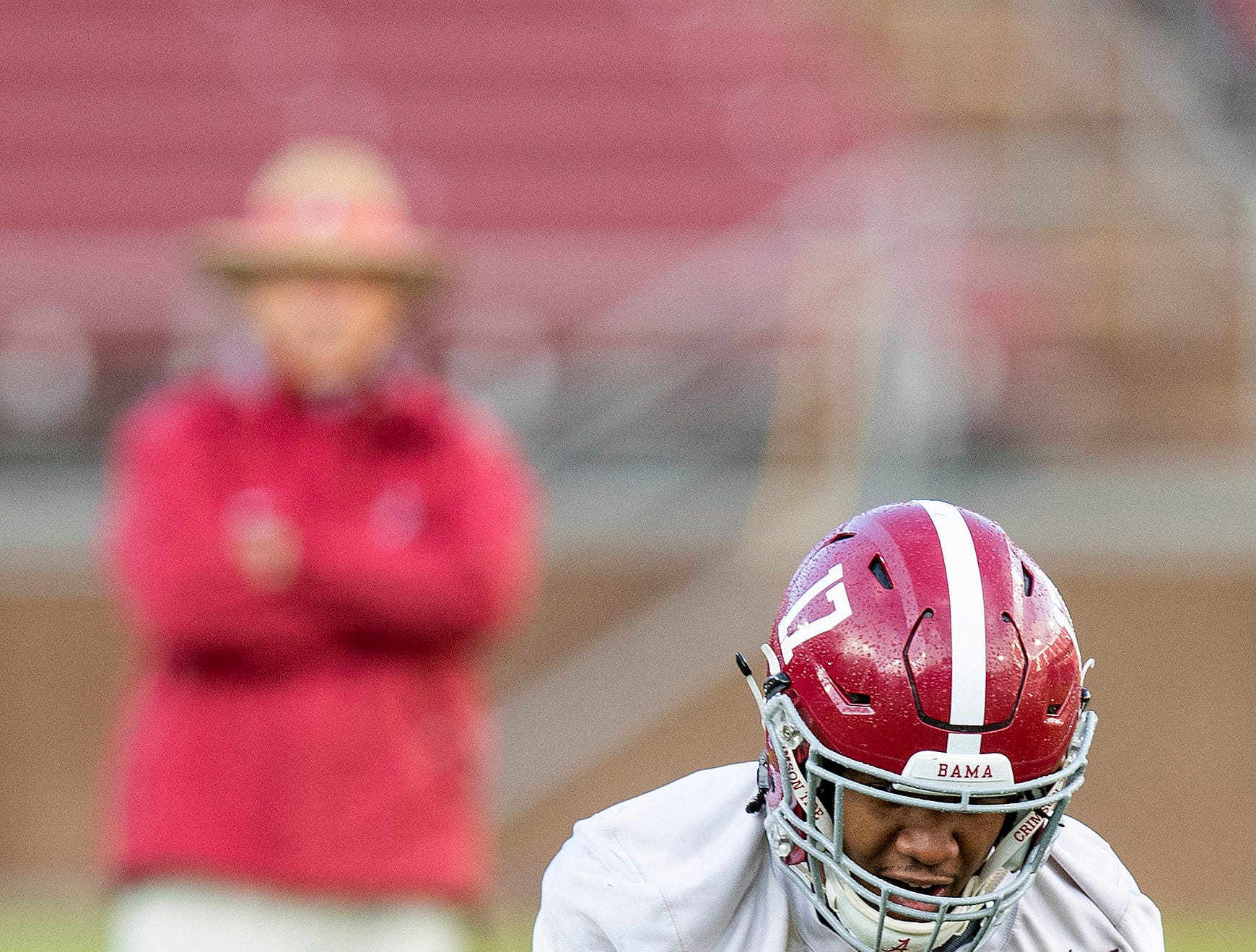 Alabama wide receiver Jaylen Waddle (17) catchers a pass as Alabama practices on the Stanford campus in Stanford, Ca., on Saturday January 5, 2019.