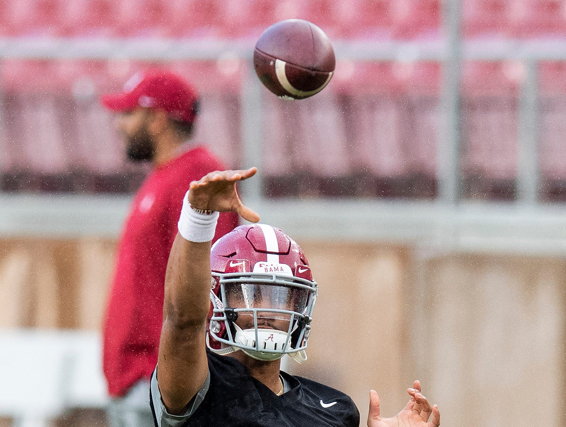 Alabama quarterback Jalen Hurts (2) as Alabama practices on the Stanford campus in Stanford, Ca., on Saturday January 5, 2019.