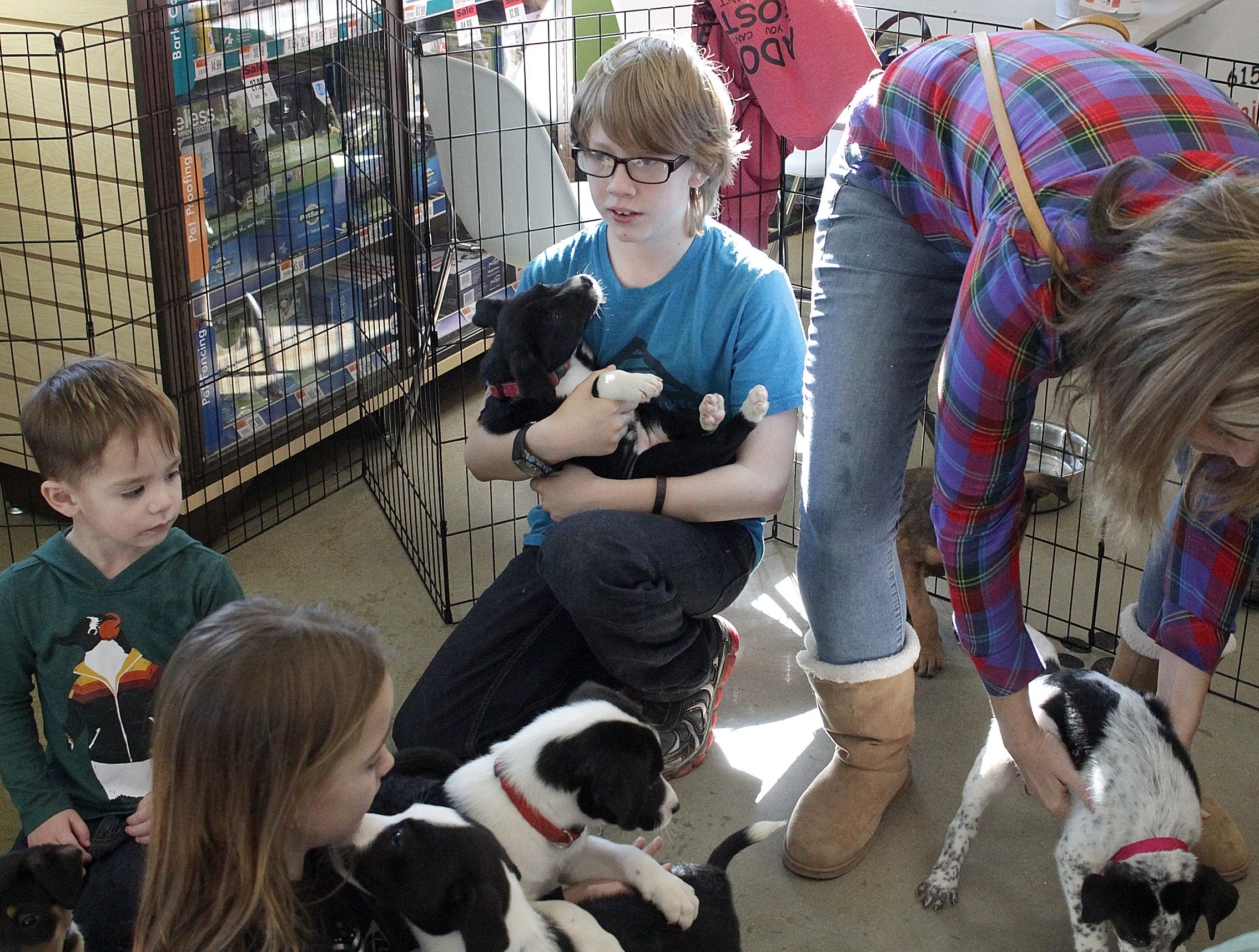 Kids play with puppies at Jojo's Doghouse adoption event at Pet Supplies Plus in Hendersonville, TN on Saturday, January 5, 2019.