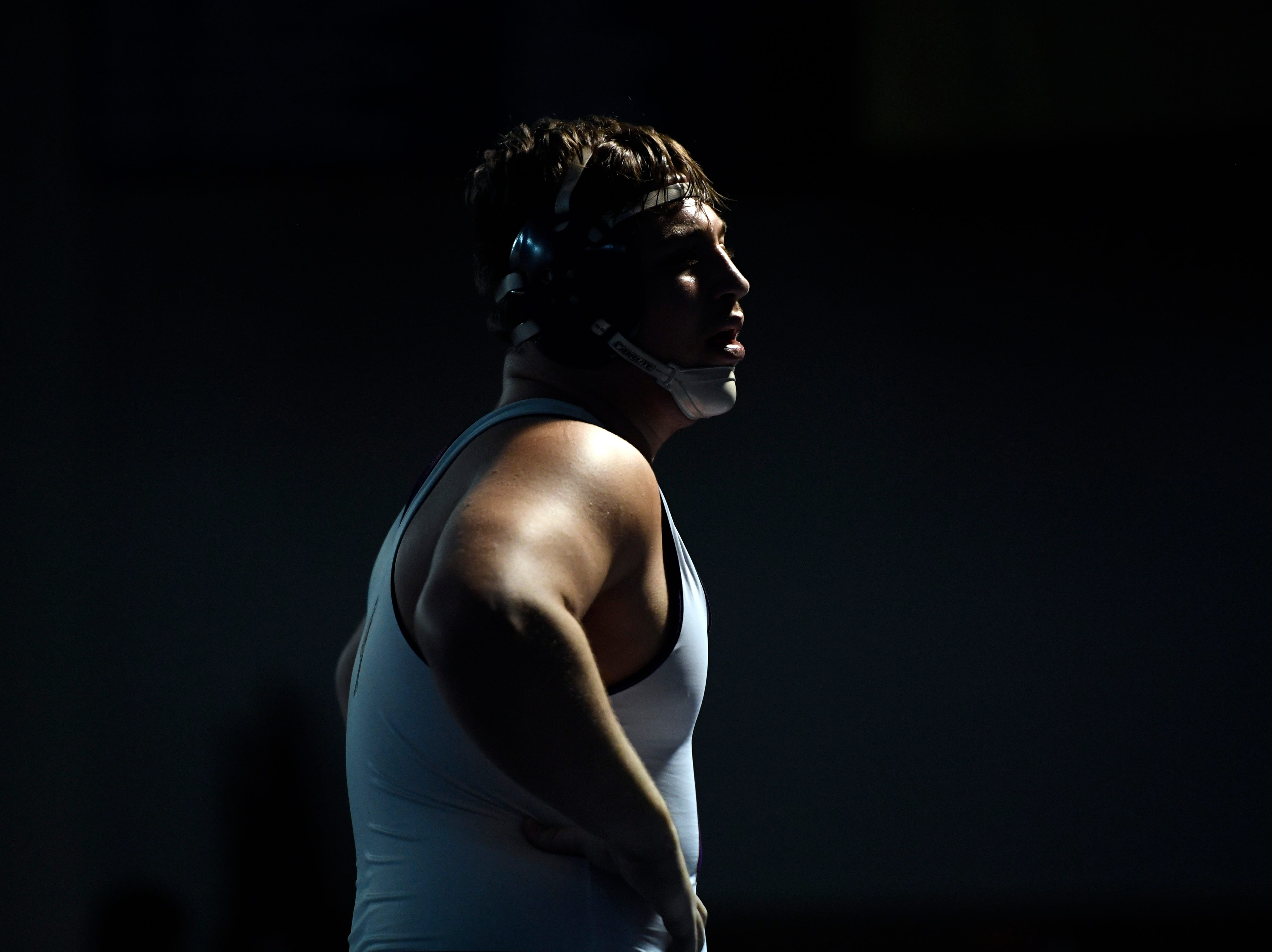 Michael Filieri of Garfield looks towards his coaches during his 220-pound final in the Sam Cali Battle for the Belt final on Sunday, Jan. 6, 2019, in West Orange.