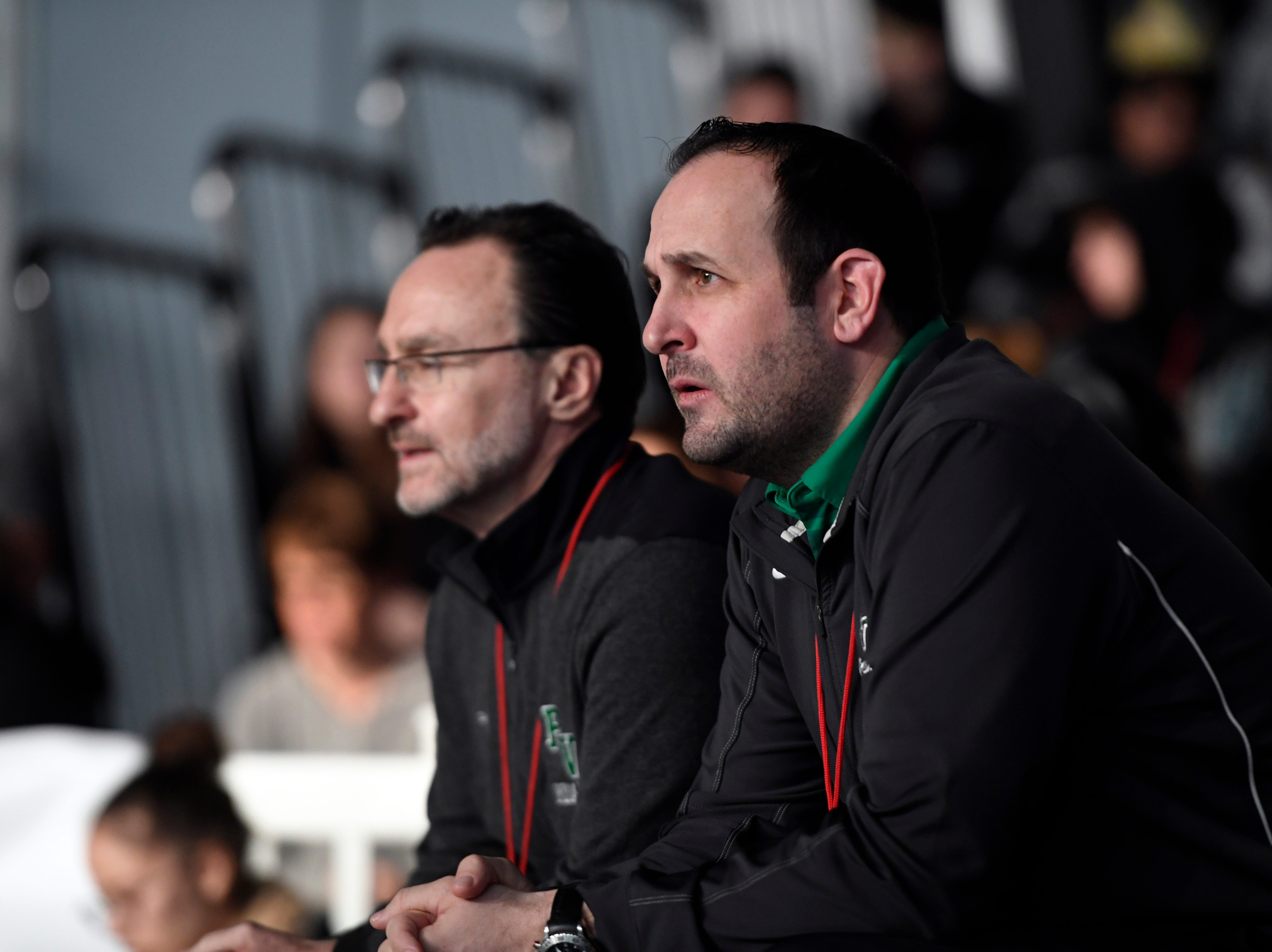 Pascack Valley head coach Tom Gallione, right, watches as Tommy Chiellini (not pictured) takes the mat for the 182-pound final during the Sam Cali Battle for the Belt tournament on Sunday, Jan. 6, 2019, in West Orange.