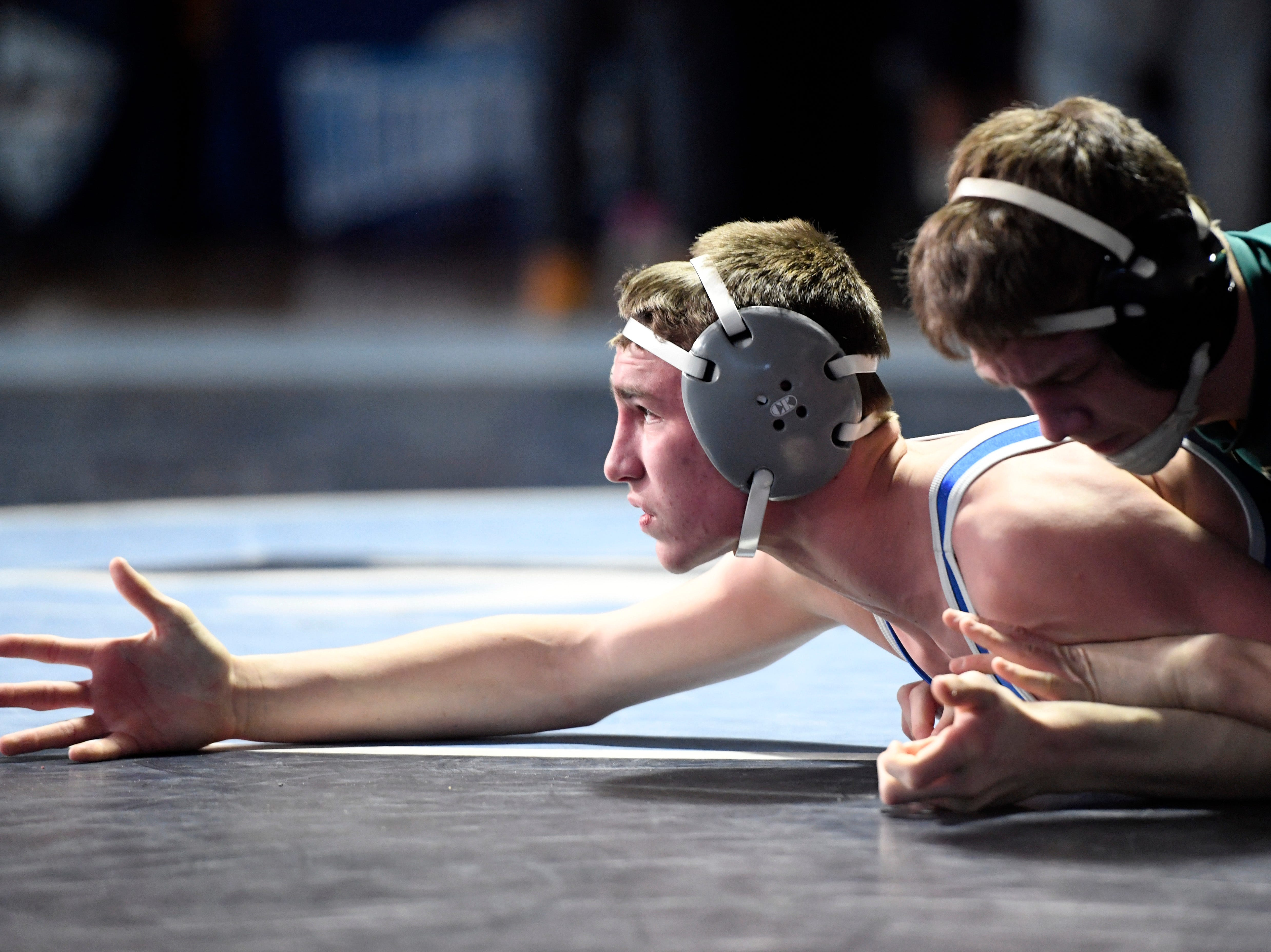 Jack Wilt of Seton Hall Prep, left, wrestles David McCullough of Clearview in the 152-pound final during the Sam Cali Battle for the Belt tournament on Sunday, Jan. 6, 2019, in West Orange.