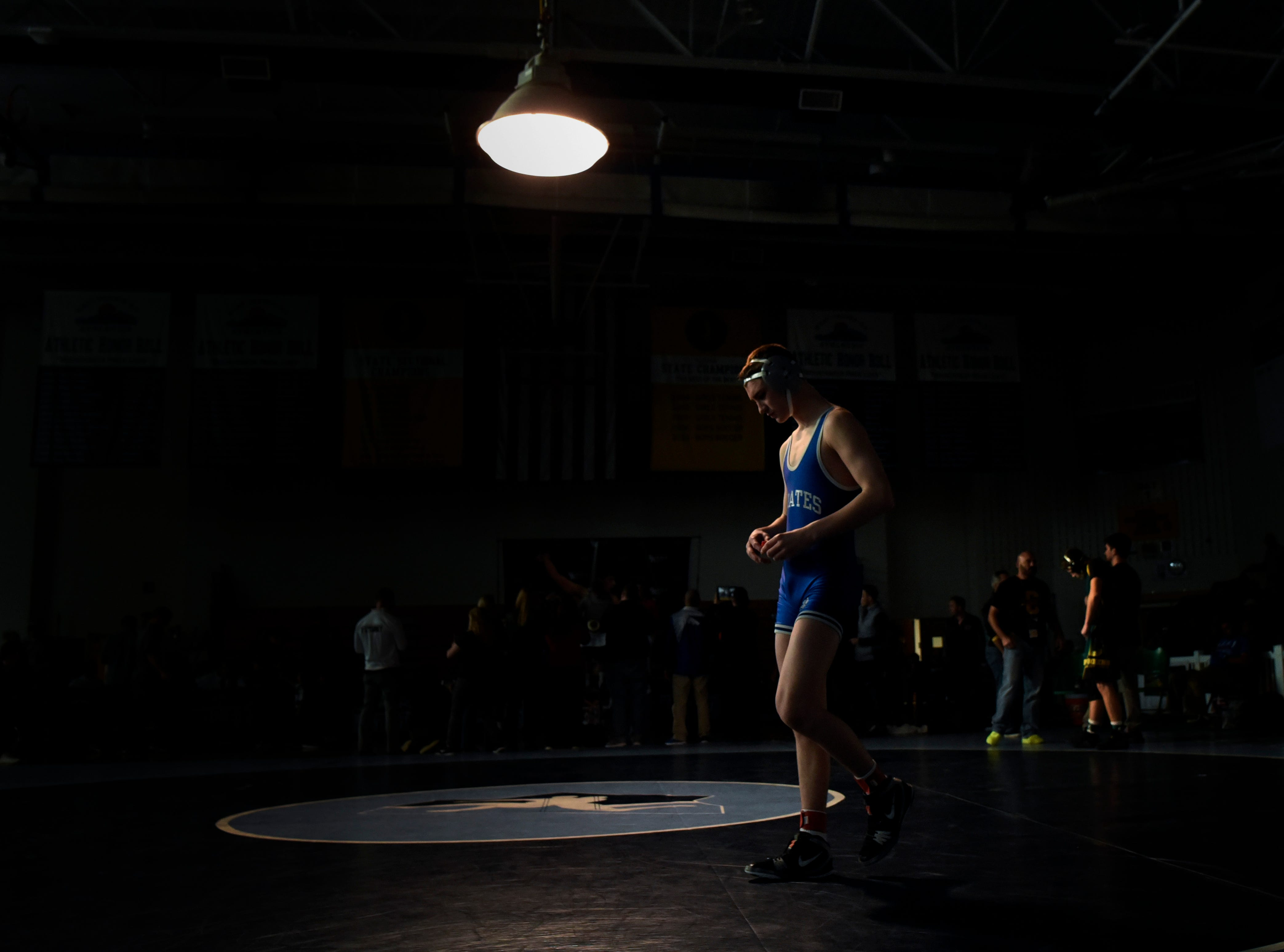 Jack Wilt of Seton Hall Prep enters the mat before his152-pound final match during the Sam Cali Battle for the Belt on Sunday, Jan. 6, 2019, in West Orange.