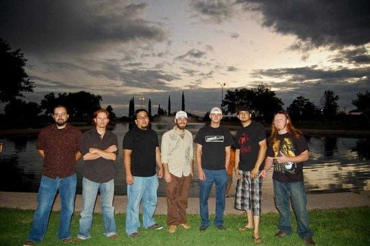 Members of Liquid Cheese, from left, Marco Guerrero, Jesse Sullivan, John Michael Vasquez, Doug Neal, Danny Sullivan, Gilbert Uribe and Sam Sullivan.