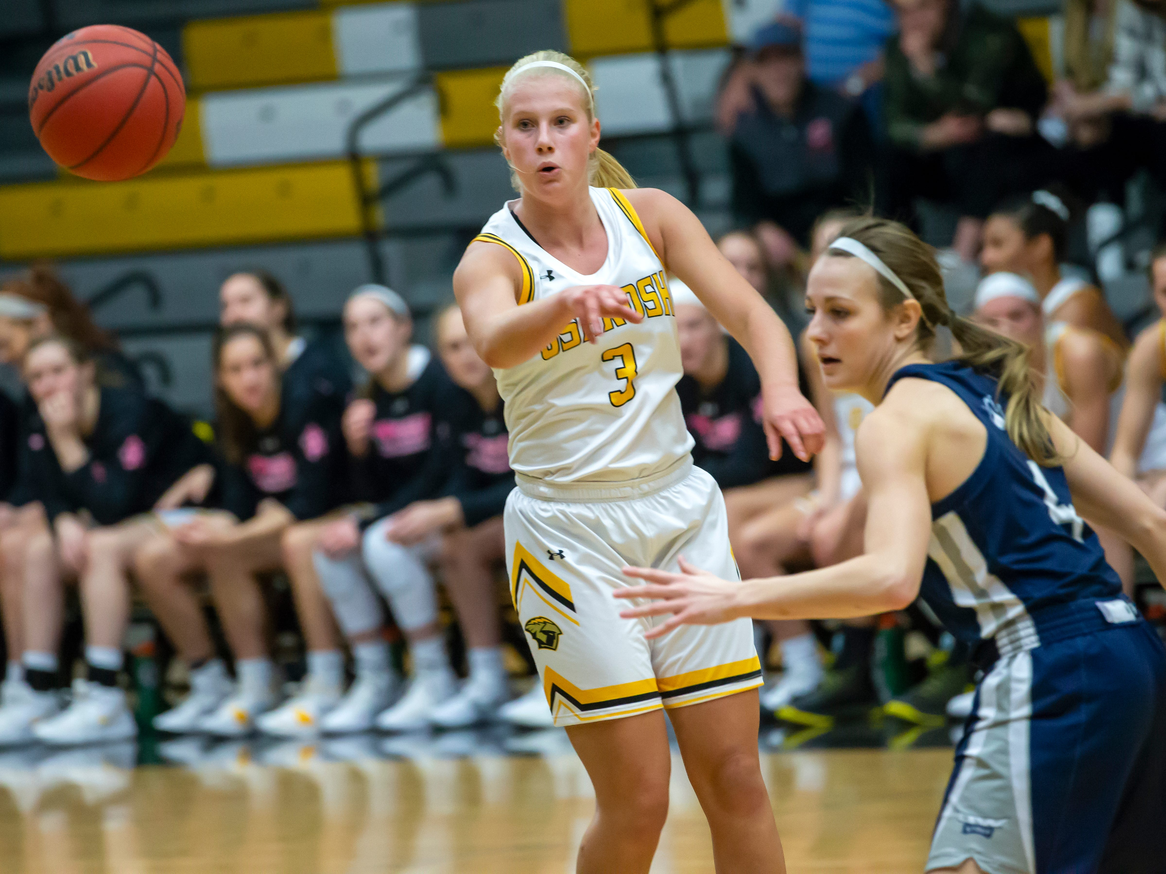 UW-Oshkosh's Brooke Freitag throws a pass during a game against UW-Stout at the Kolf Sports Center on Saturday, January 5, 2019.
