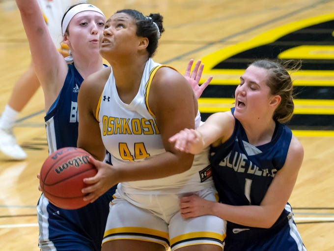 UW-Oshkosh's Isabella Samuels (hometown Green Bay) goes up under the basket for a shot at the Kolf Sports Center on Saturday, January 5, 2019.