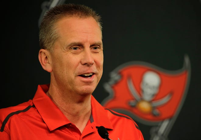 New Tampa Bay Buccaneers offensive coordinator Todd Monken during a news conference at the team's training facility Thursday, Jan. 28, 2016, in Tampa, Fla. Monken will also be the wide receivers coach. He was formerly the head coach at the University of Southern Miss. (AP Photo/Chris O'Meara)