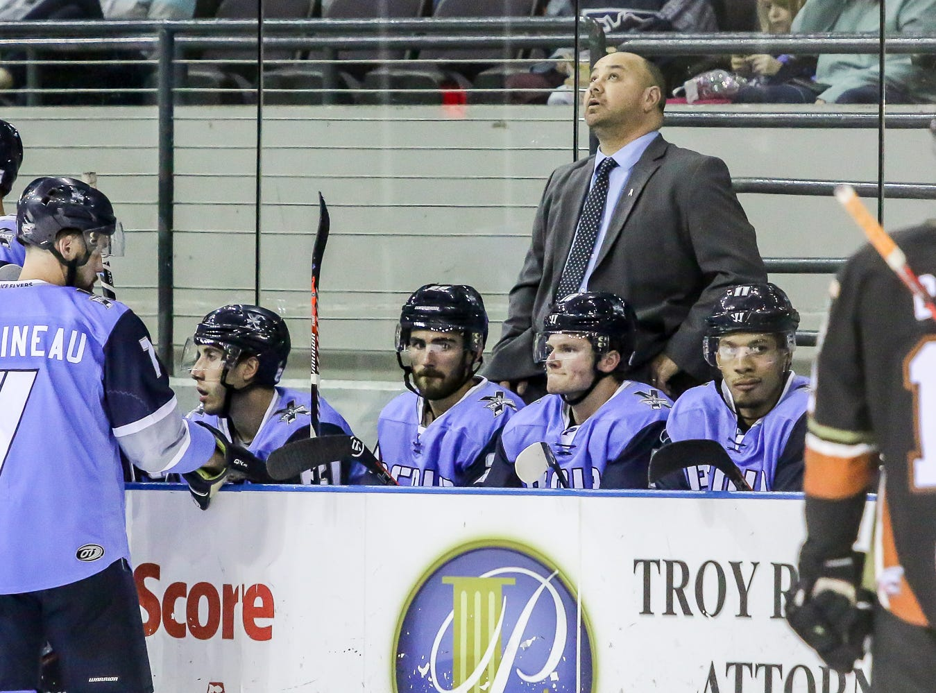 Ice Flyers head coach Rod Aldoff looks up at the scoreboard during a timeout in the game against Fayetteville at the Pensacola Bay Center on Saturday, January 5, 2019.