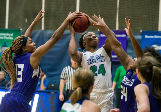 West Florida's Toni Brewer goes up for two as they take on the Montevallo Falcons Saturday, January 5, 2019 at the UWF Field House