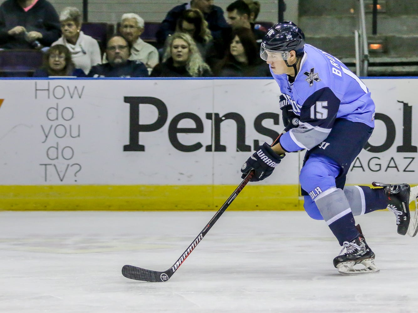 Pensacola's Nathan Bruyere (15) heads into the Fayetteville zone at the Pensacola Bay Center on Saturday, January 5, 2019.