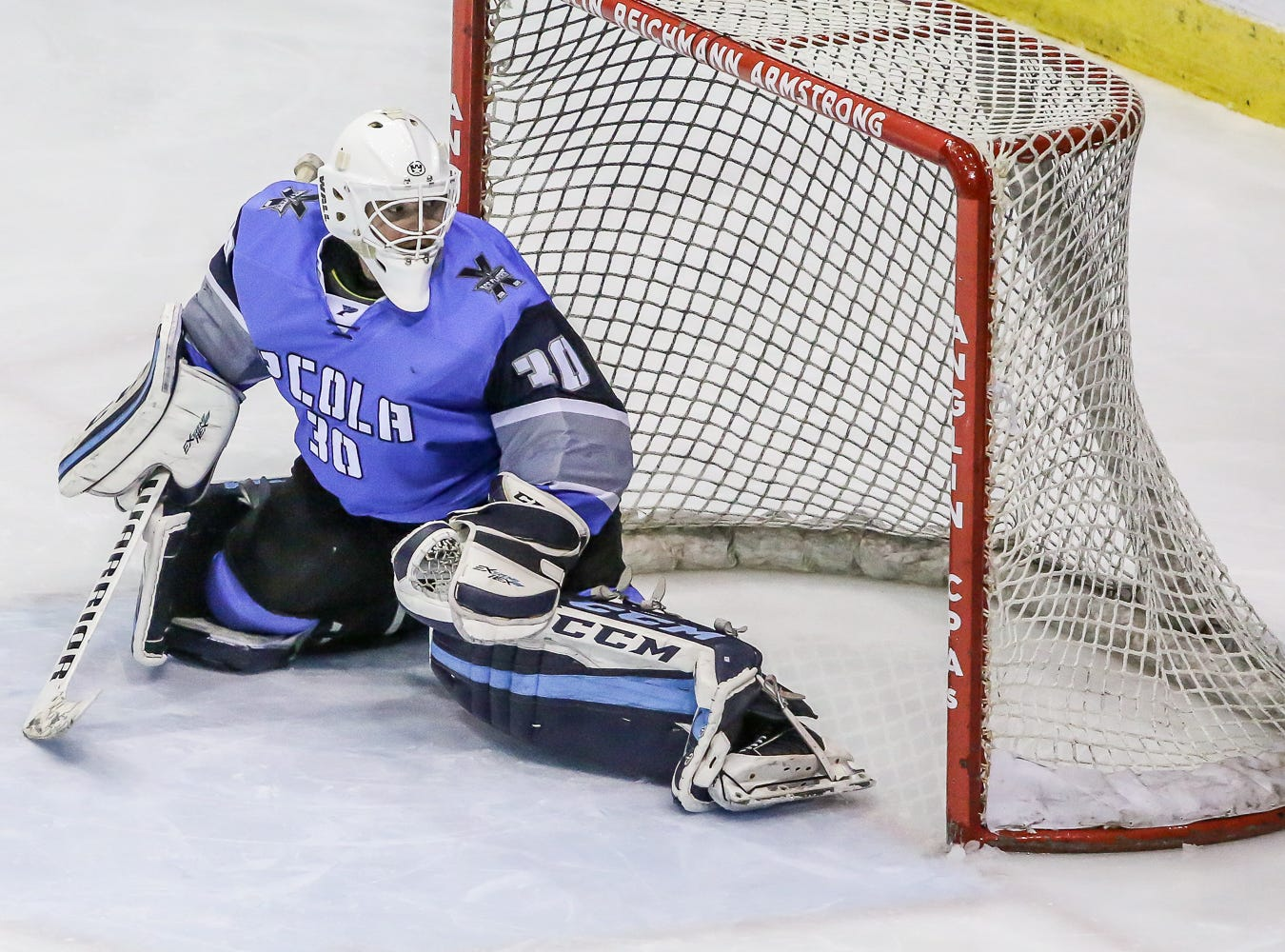Pensacola goalie Brian Billett (30) watches as a Fayetteville shot goes wide of the net at the Pensacola Bay Center on Saturday, January 5, 2019.