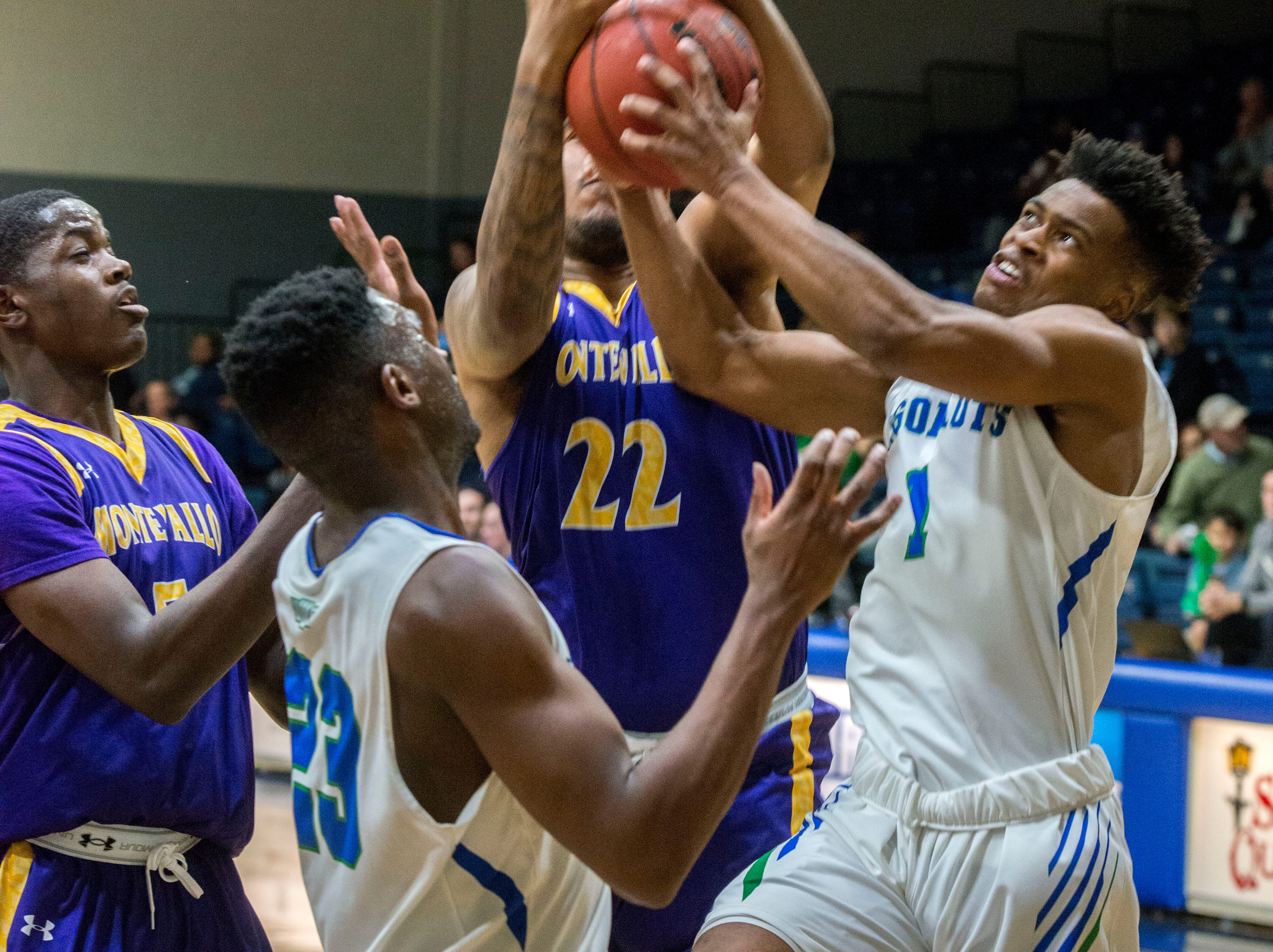 West Florida's Cameron Cox (1) goes for the abllas they take on the Montevallo Falcons Saturday, January 5, 2019 at the UWF Field House