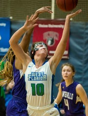 West Florida's Anna Hall goes up for two as they take on the Montevallo Falcons Saturday, January 5, 2019 at the UWF Field House