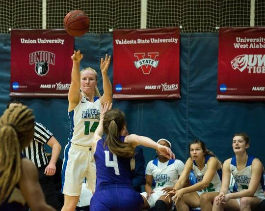 West Florida's Fanny Hulmi goes up for two as they take on the Montevallo Falcons Saturday, January 5, 2019 at the UWF Field House