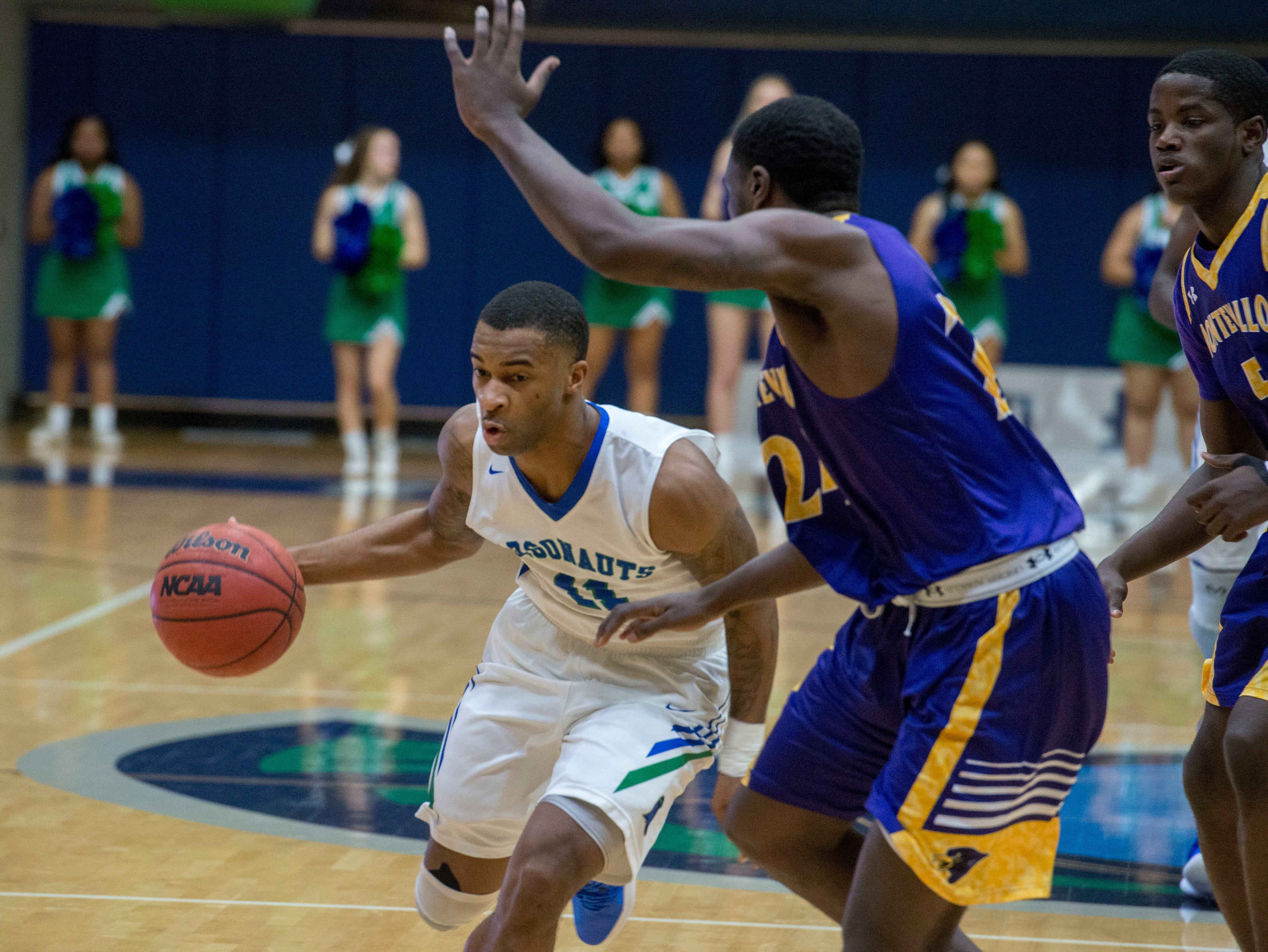 West Florida's Rashaan Benson drives to the basket as they take on the Montevallo Falcons Saturday, January 5, 2019 at the UWF Field House