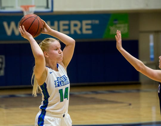 West Florida's Fanny Hulmi gets ready to pass they ball as they take on the Montevallo Falcons Saturday, January 5, 2019 at the UWF Field House