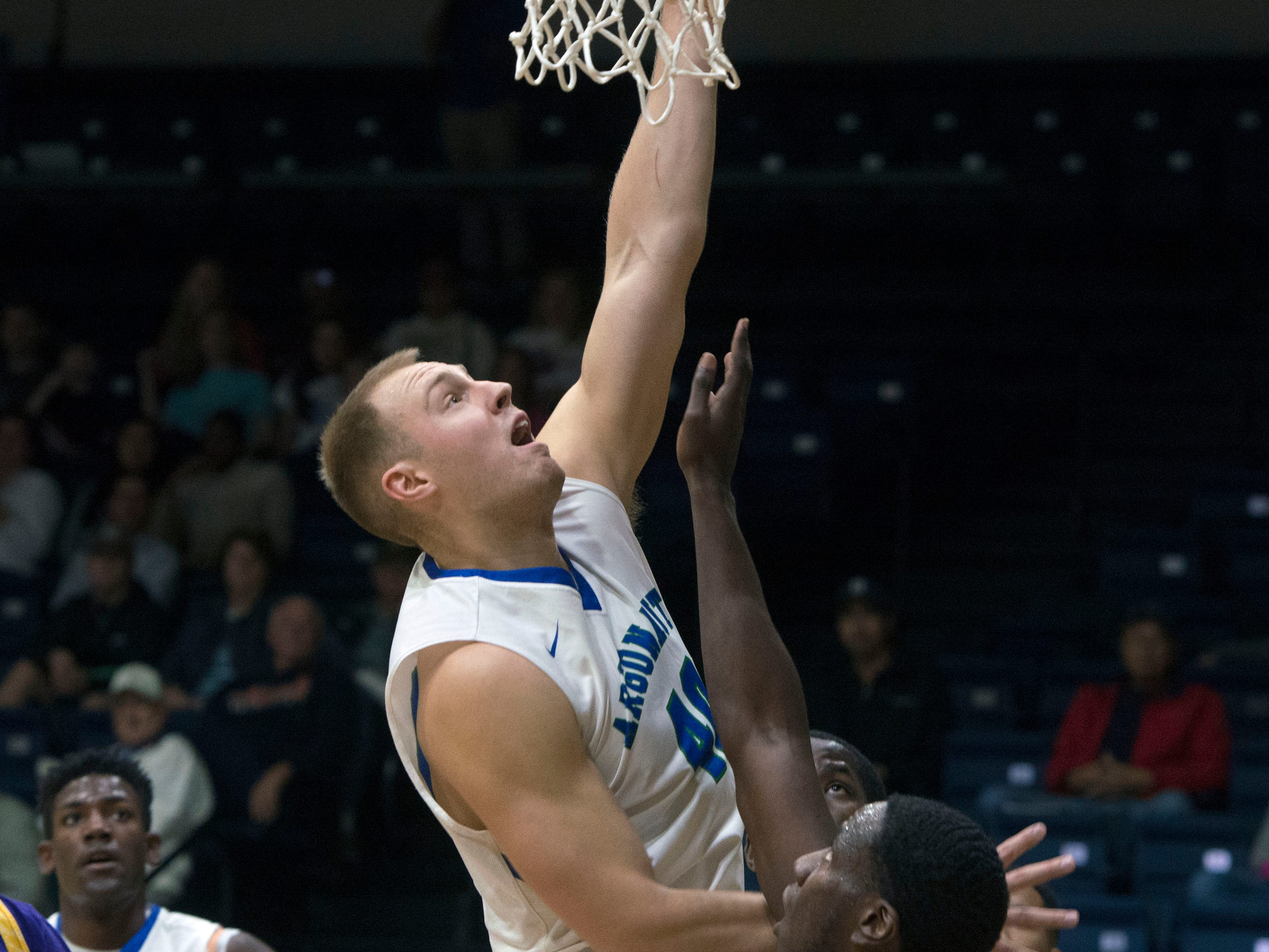West Florida's Henri Ventoniemi goes up fro two as they take on the Montevallo Falcons Saturday, January 5, 2019 at the UWF Field House