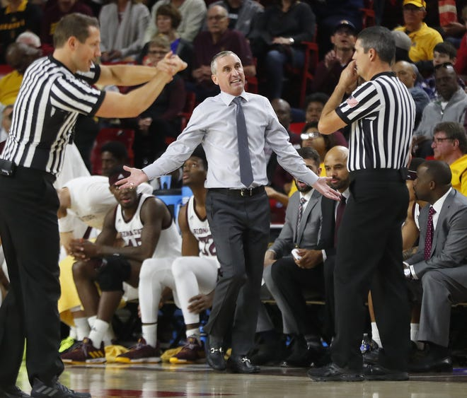 ASU's head coach Bobby Hurley argues with an official during the first half against Colorado at Wells Fargo Arena in Tempe, Ariz. on January 5, 2019.