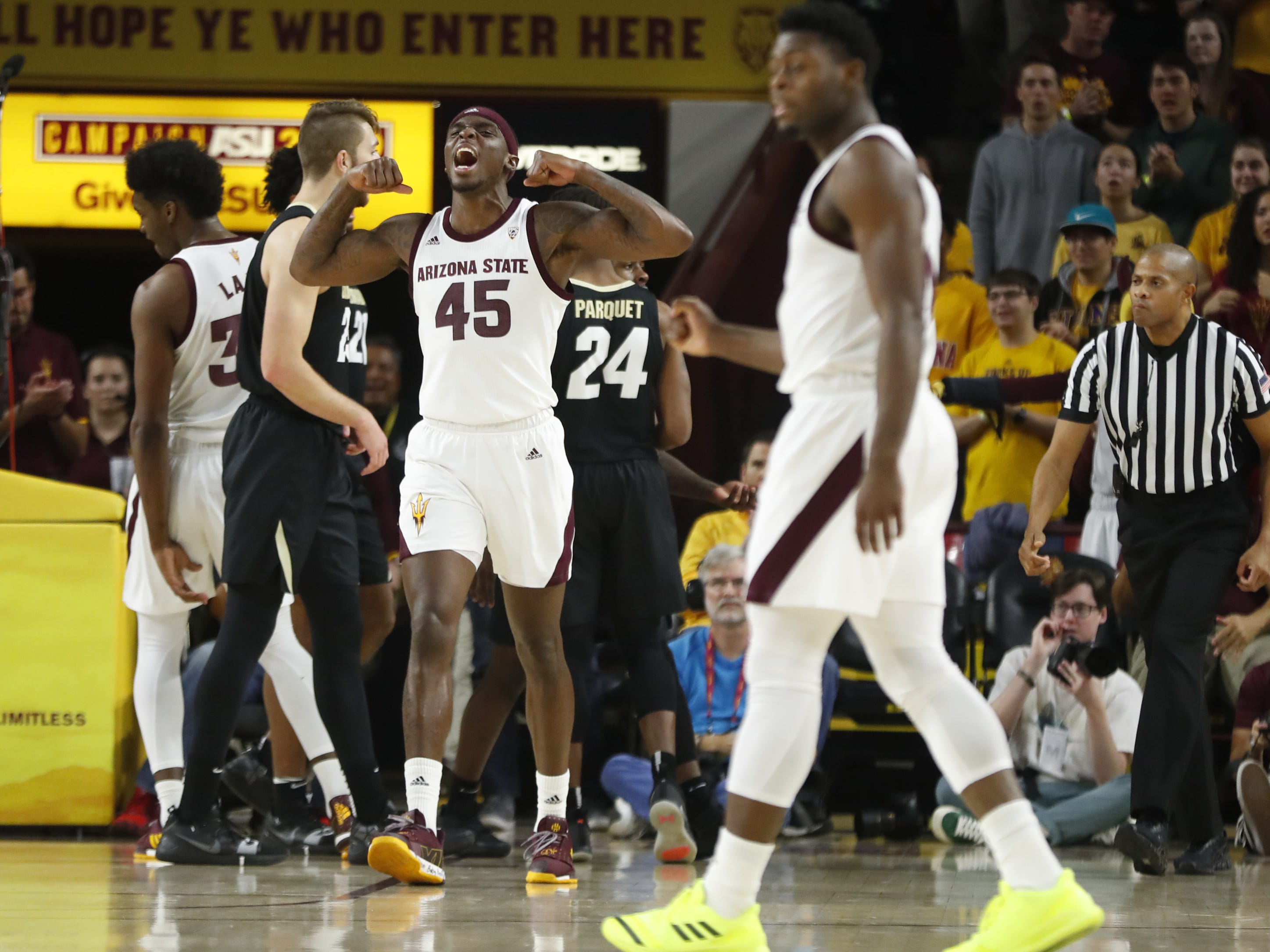 ASU's Zylan Cheatham (45) shows off his muscles after ASU scores against Colorado during the first half at Wells Fargo Arena in Tempe, Ariz. on January 5, 2019.
