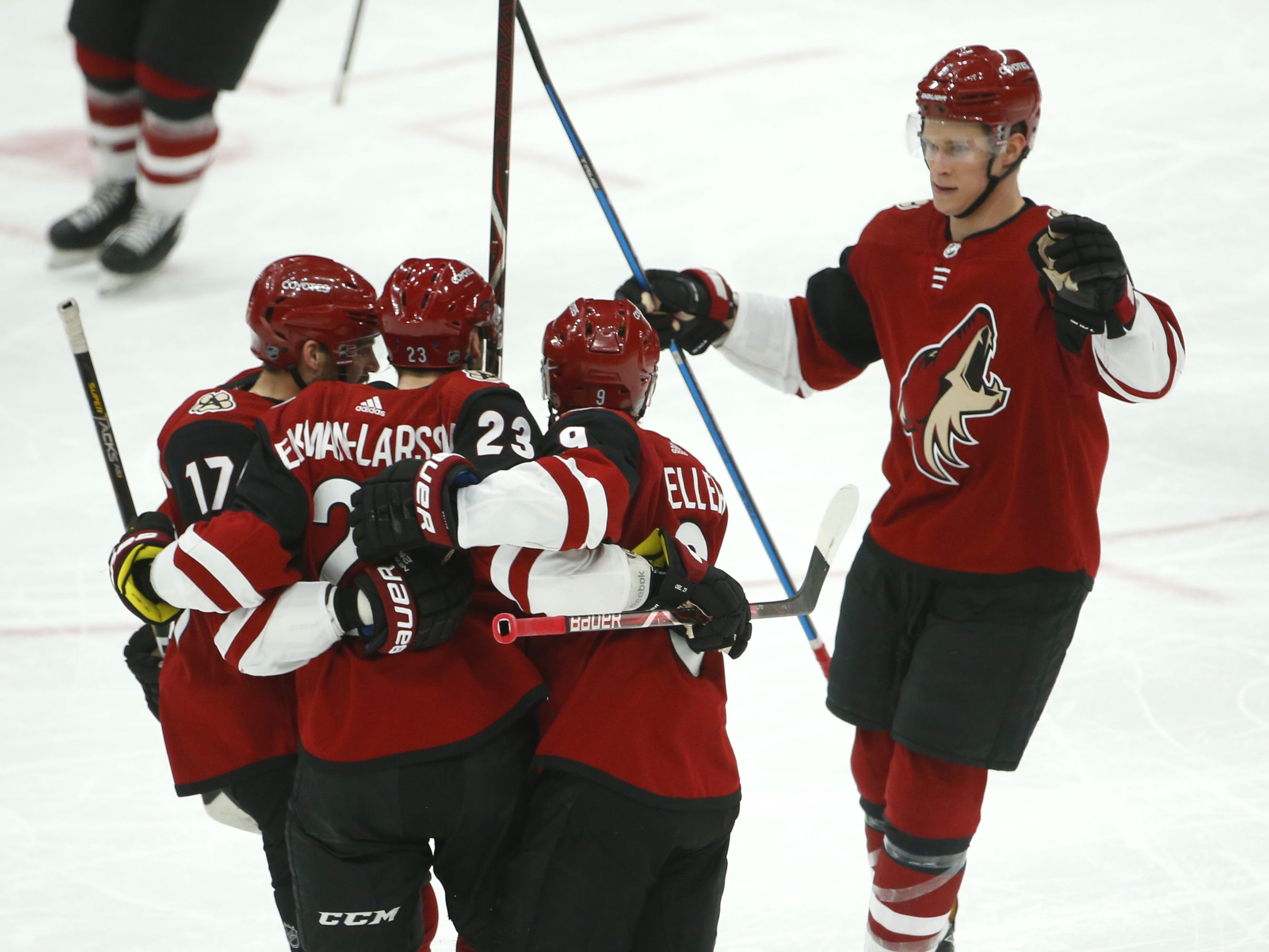 Coyotes' Oliver Ekman-Larsson (23) is greeted by teammates after scoring during the first period against the Rangers at Gila River Arena in Glendale, Ariz. on January 6, 2019.