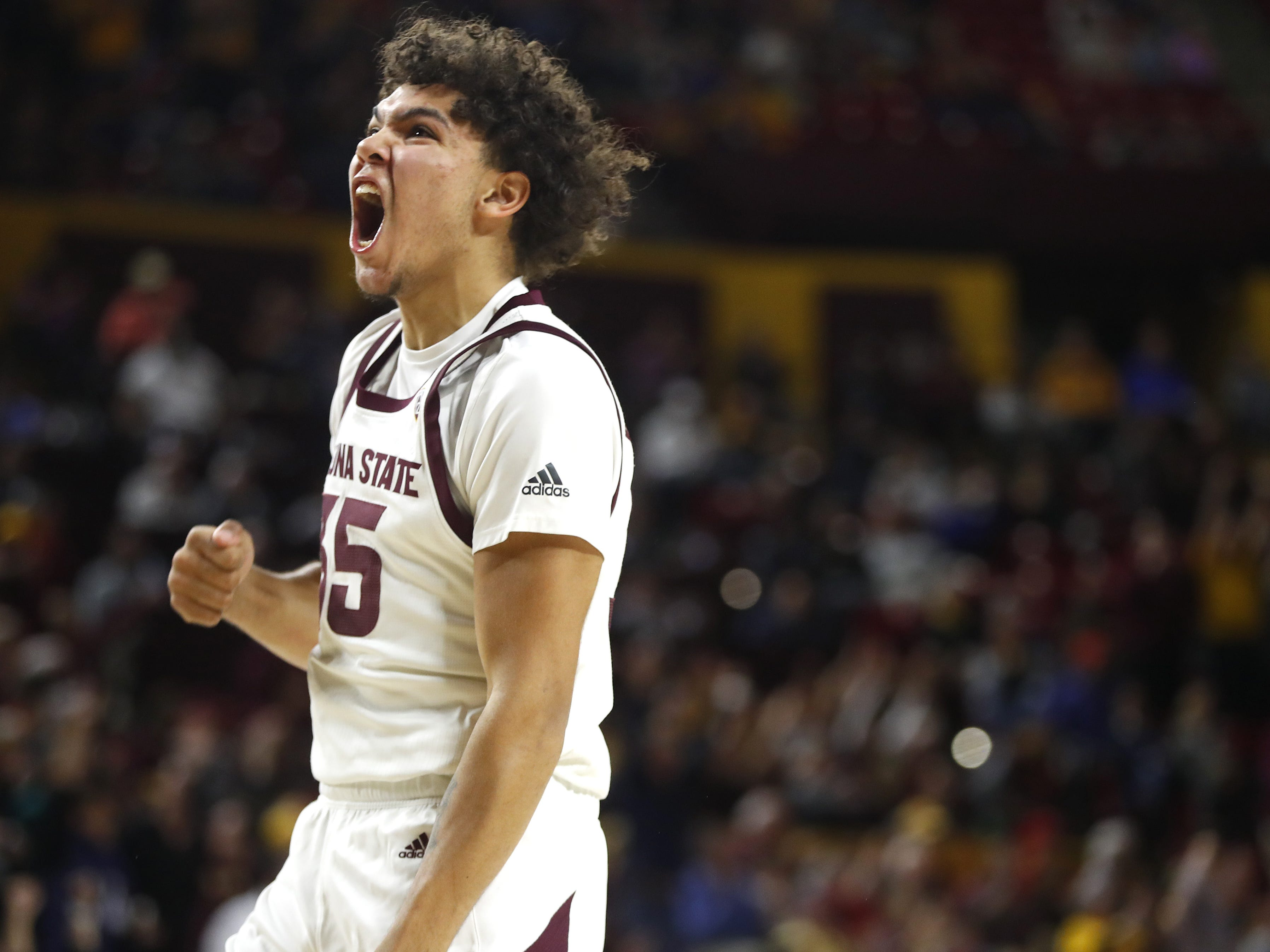 ASU's Taeshon Cherry (35) celebrates after ASU expands its lead during the first half against Colorado at Wells Fargo Arena in Tempe, Ariz. on January 5, 2019.
