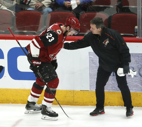Coyotes' Oliver Ekman-Larsson (23) comes off the ice after an injury against the Rangers during the first period at Gila River Arena in Glendale, Ariz. on January 6, 2019.