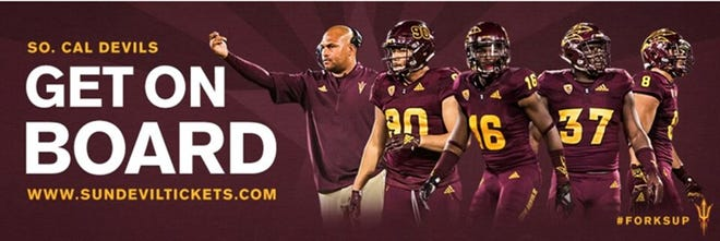 ASU athletics is spreading its message in southern California with six billboards featuring recruiting coordinator/linebackers coach Antonio Pierce and several players from the area.