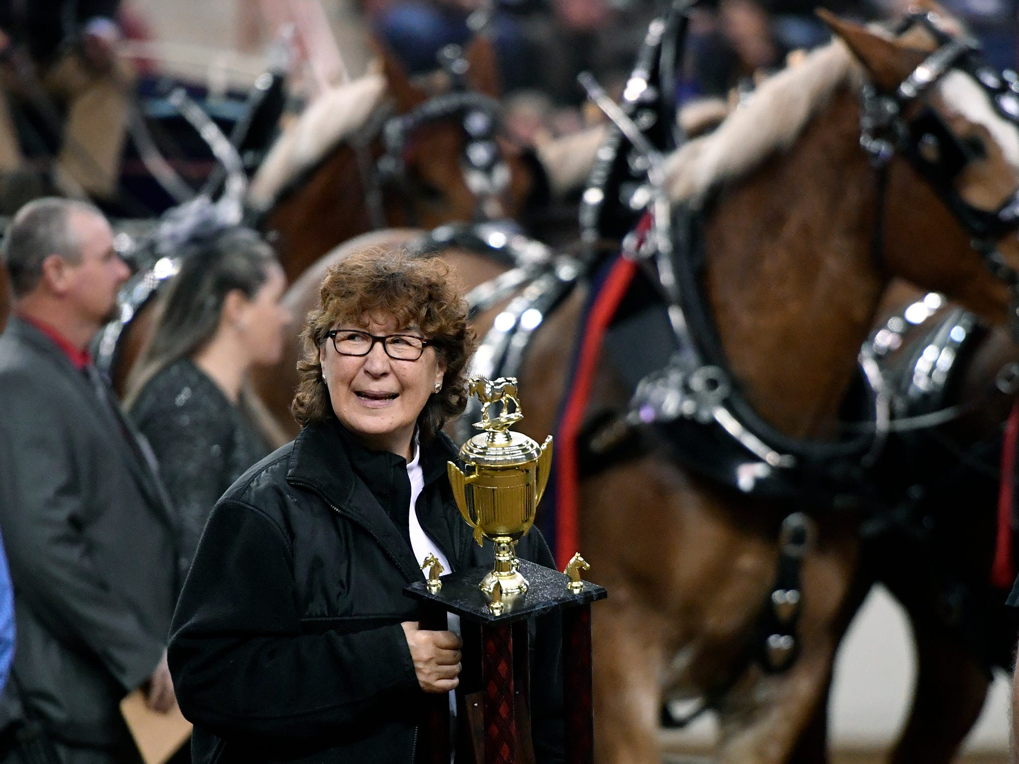 Wanda Waugh, widow of former PA Senator Mike Waugh, waits to present the Mike Waugh Memorial Award to the first place finisher of the four horse Draft Horse Competition during the 103rd Pennsylvania Farm Show, Sunday, January 6, 2019. John A. Pavoncello photo