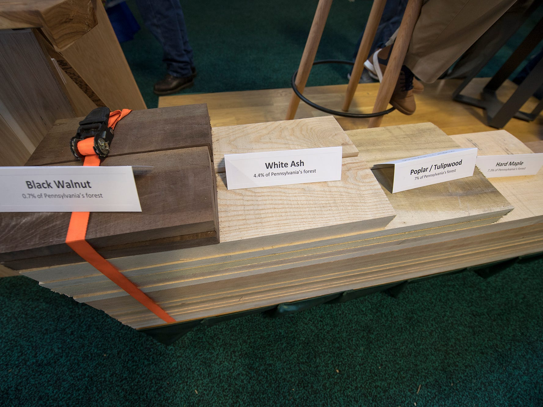 A stack of wood, made from the actual woods described, shows the percentage of each tree in Pennsylvania forests at the Pennsylvania Hardwood Association display during The 103rd Pennsylvania Farm Show in Harrisburg Sunday January 6, 2019.