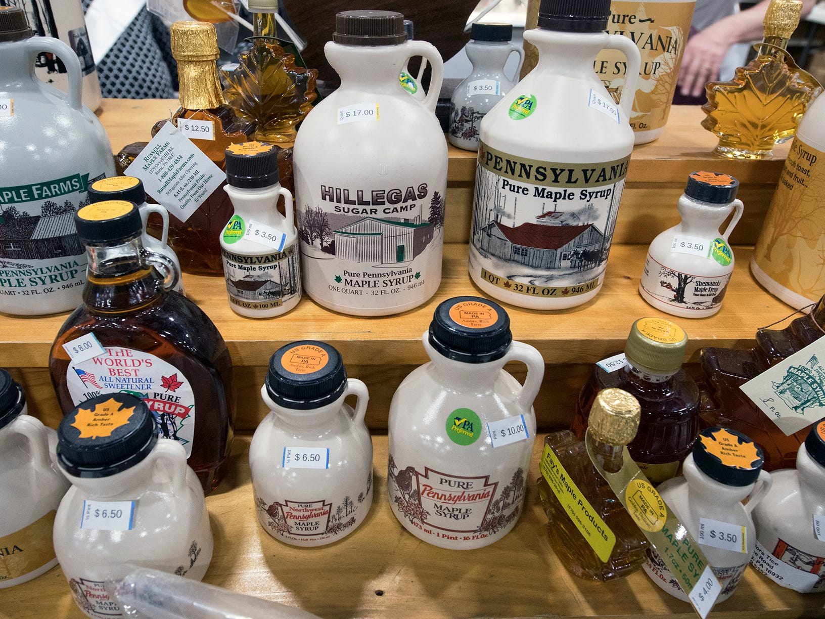 Pennsylvania maple syrup on display at the food court during The 103rd Pennsylvania Farm Show in Harrisburg Sunday January 6, 2019.