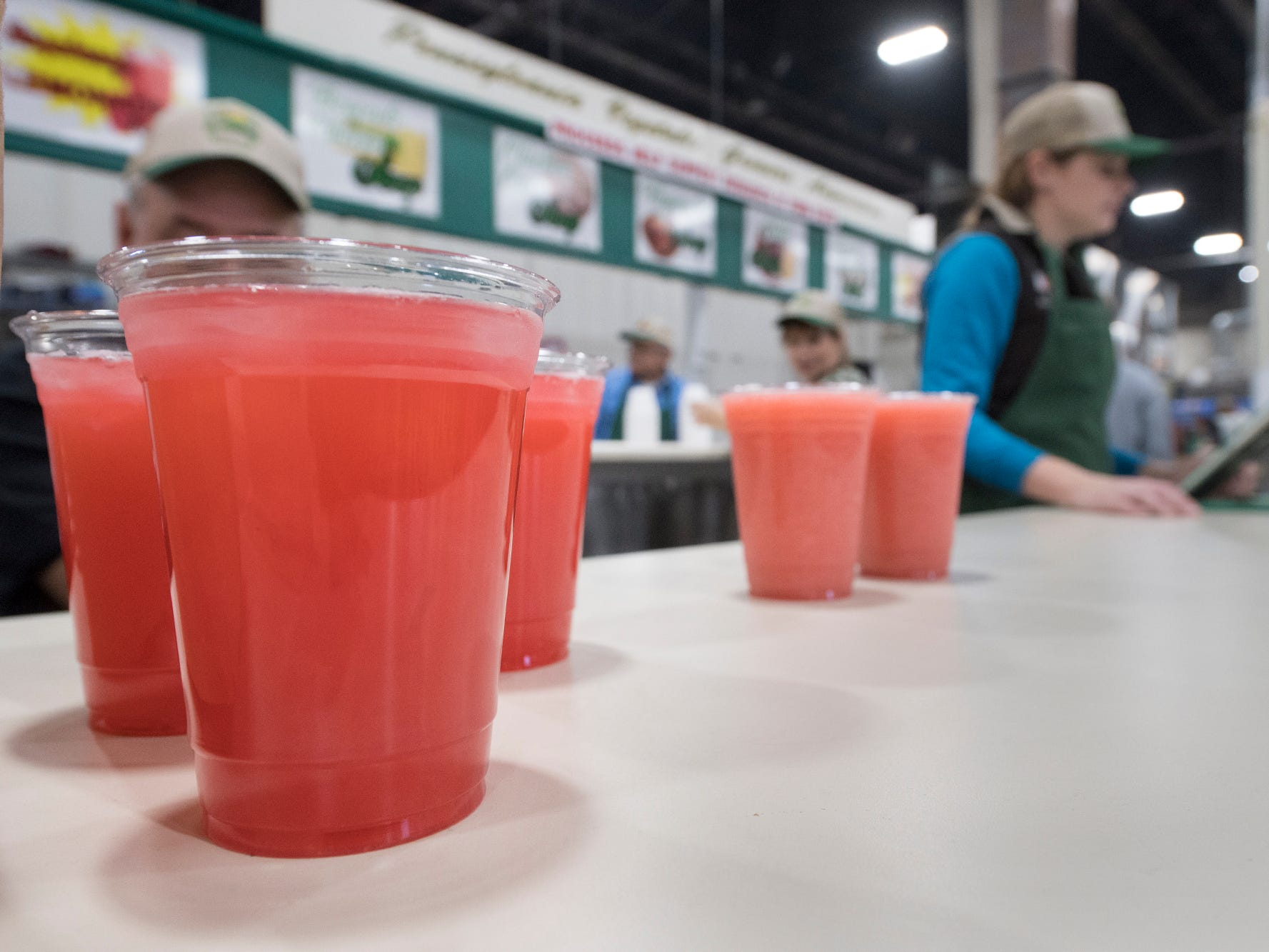 Fruit drinks ready to refresh at the food court during The 103rd Pennsylvania Farm Show in Harrisburg Sunday January 6, 2019.