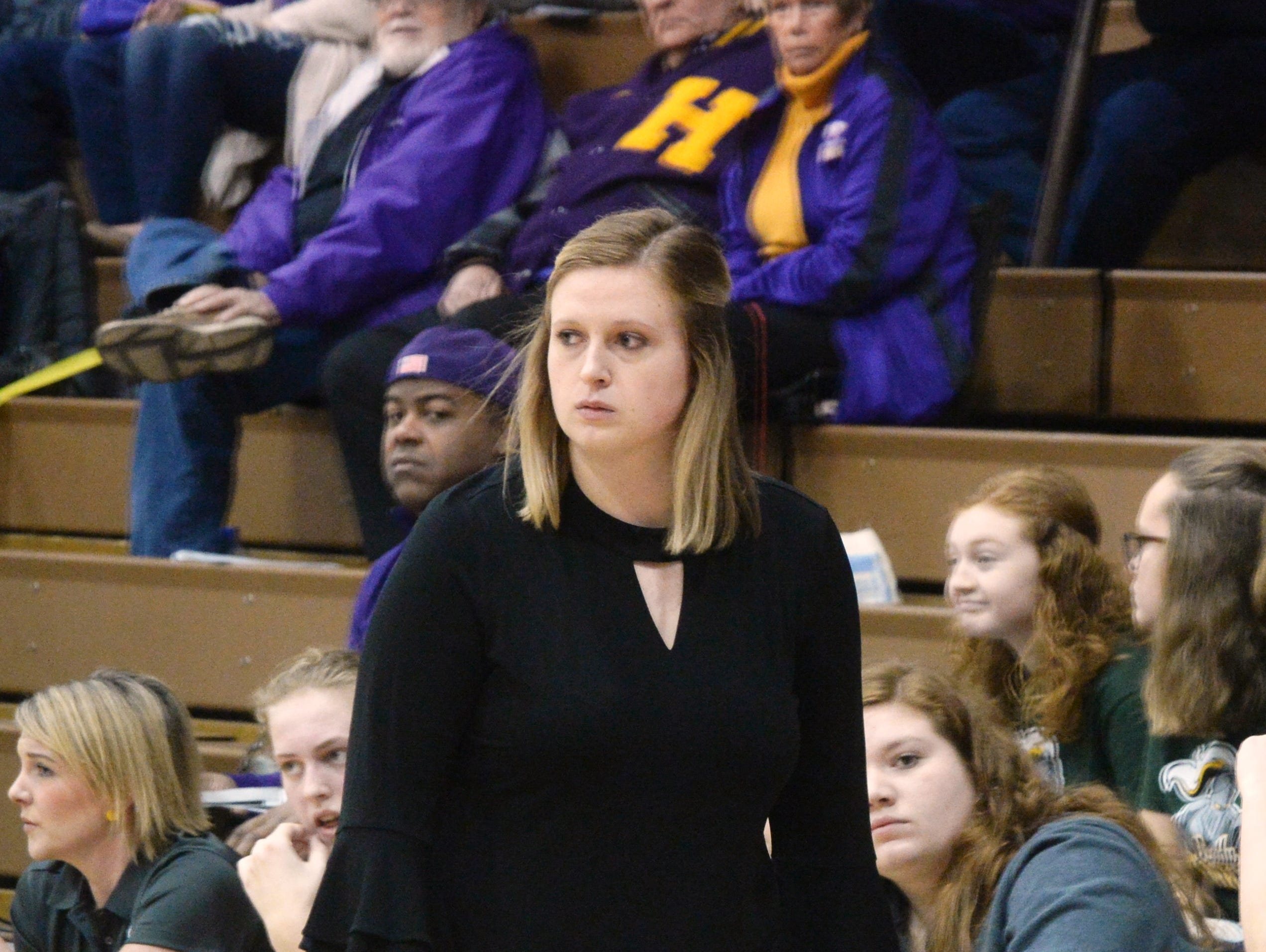 Northeastern girls basketball coach Sara Mayo during the Wayne County girls basketball championship at Hagerstown Saturday, Jan. 5, 2019. Hagerstown defeated Northeastern 37-35 to win the girls' title, and Northeastern beat Hagerstown 60-49 in the boys championship.