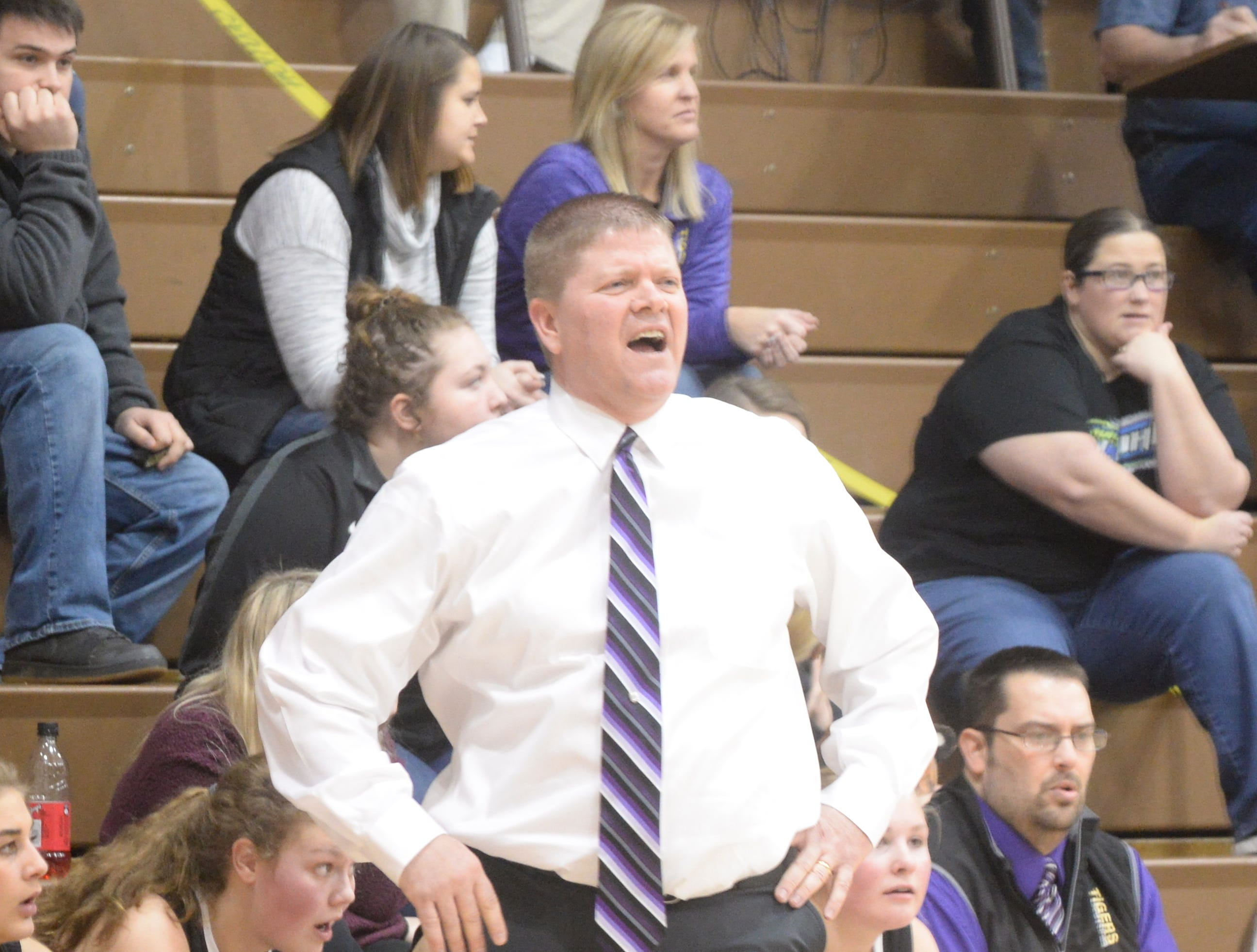 Hagerstown girls basketball coach Chris Oliger during the Wayne County girls basketball championship at Hagerstown Saturday, Jan. 5, 2019. Hagerstown defeated Northeastern 37-35 to win the girls' title, and Northeastern beat Hagerstown 60-49 in the boys championship.
